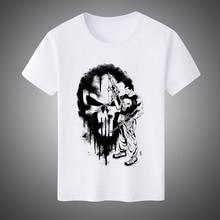 2017 New Summer Unisex Punisher Skull White Milk Silk T-shirt Short-sleeved Shirt Top Tees