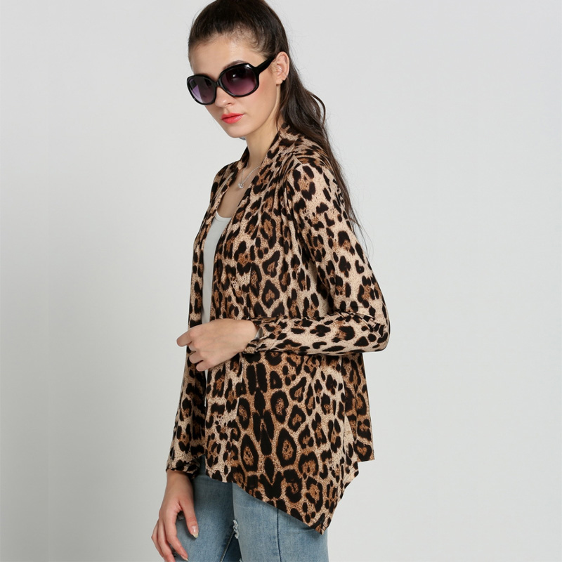 Lady Leopard Cardigan Women Casual Leopard Shirt Open Front ...