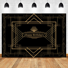 Neoback Gatsby Happy Birthday Party Photo Background Black Gold Custom Photography Backdrops Studio Shoots