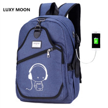 Top Quality Men Women's Schoolbags Luminous USB Interface Charging Large Capacity Waterproof Computer Double Shoulder Bag