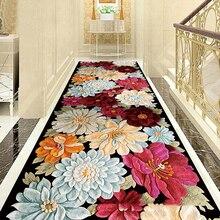 3D креативные цветочные коврики европейские Коврик для прихожей спальня гостиная кухонные Половики лестничные коврорые дорожки противоскользящие гостиничные коридорные коврики
