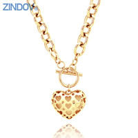 Fashion 316L Stainless Steel Choker Necklaces For Women Heart Pendants PVD Rose Gold Statement Jewelry Top