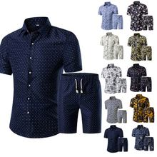 Hot Summer Men Printed T-shirt + Shorts Decorative Pattern Two Piece Sets Plus Size  SMA66