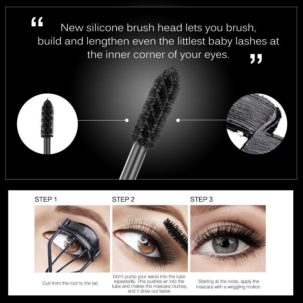 BANXEER Fluffy Volume Mascara Makeup 4D Silk Fiber Lash Mascara Waterproof Rimel 3d Mascara Extension Thick Long Curling Eyelash 1