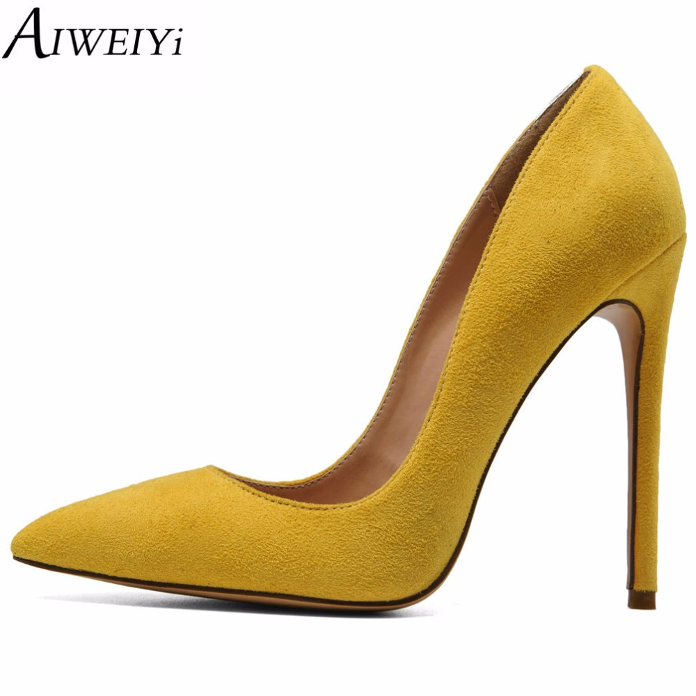 AIWEIYi Women Pointed Toe High Heels Stiletto Pumps Ladies Slip On Wedding Party Basic Shoes Black Red Women High Heel Shoes cicime women s heels thin heel spikes heels solid slip on wedding fashion leisure casual party dressing high heel platform pumps