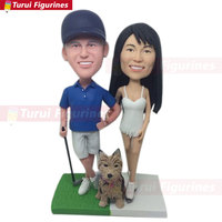 Golfer Wedding Topper Skater Wedding Custom Personalized Golf Wedding Cake Topper Clay personalized bobblehead figurines statue