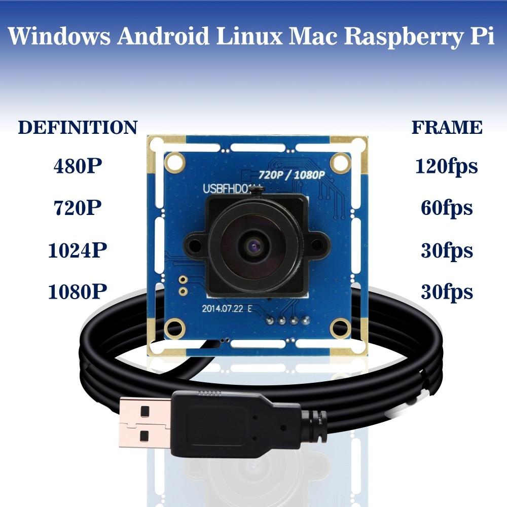 1080 p Full Hd MJPEG 30fps/60fps/120fps Haute Vitesse CMOS OV2710 Grand Angle Mini CCTV Android Linux UVC Webcam module de caméra usb