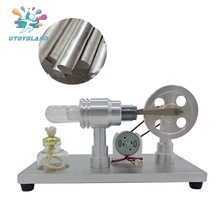 UTOYSLAND Metal Baseboard Double-cylinder Micro Stirling Engine External Combustion Engine Early Learning Model Toy For Children