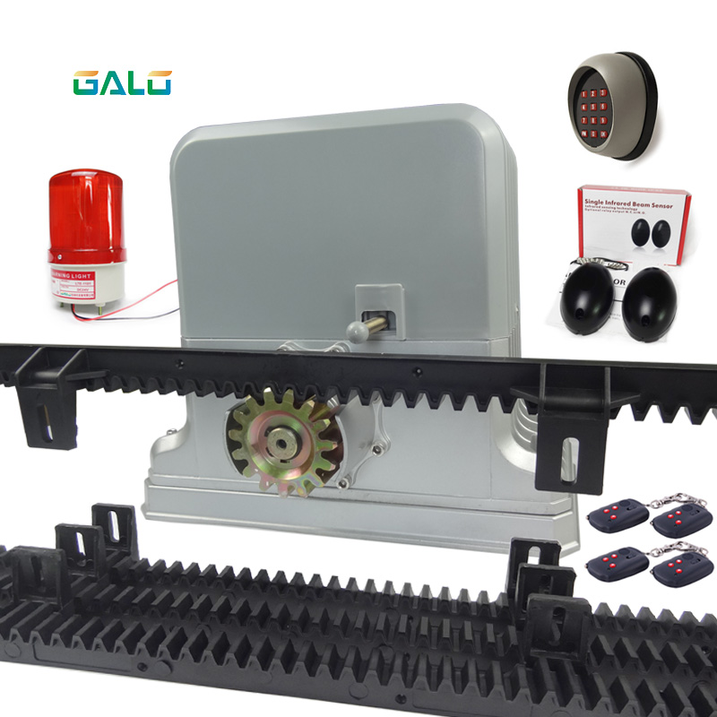 GALO Automatic Sliding Electric Gate Opener 1800KG Automatic Motor Remote Heavy Duty 6m nylon rack infrared photocell alarm lamp automatic sliding gate opener for home automation 1000kg