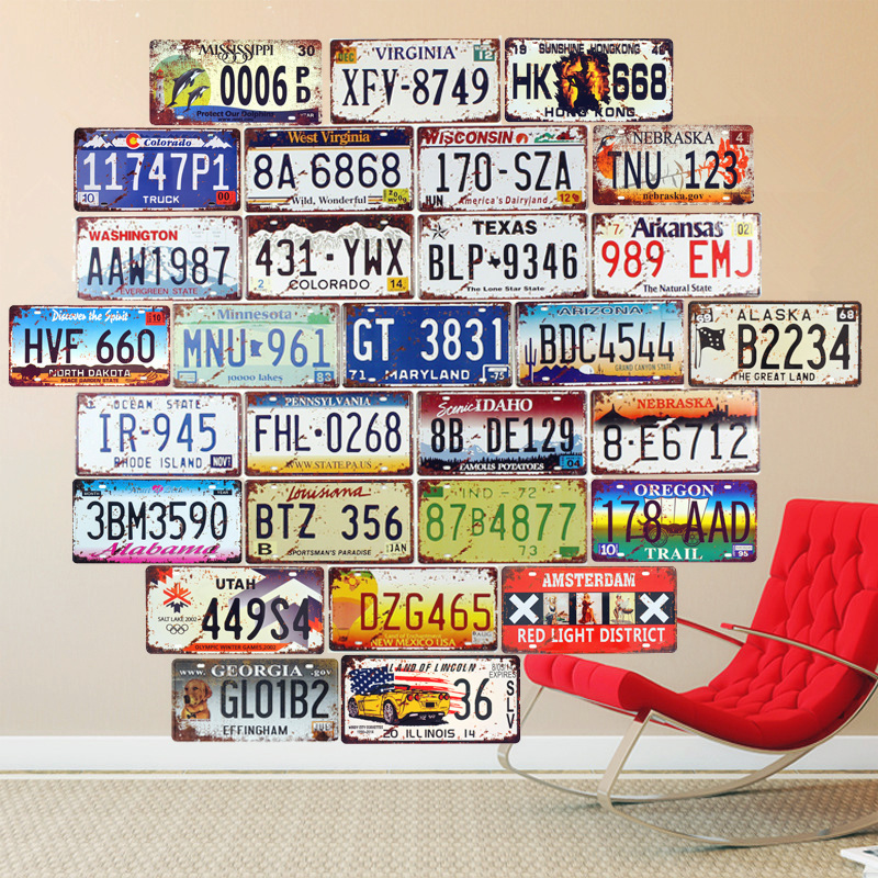 Аризона авто лицензия саны Металл тақтайшасы Vintage Tin Sign Bar Гараж Гараж Home Decor Wall Stickers Темір ретро плака 30x15см A669
