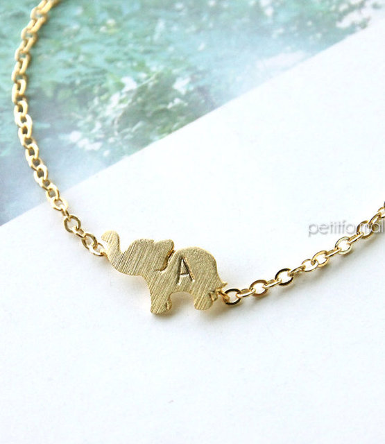 Famous gold elephant bracelet personalized initial dainty everyday famous gold elephant bracelet personalized initial dainty everyday charm bracelet animal friendship bracelet b007 mozeypictures Image collections