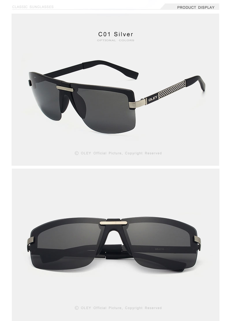 OLEY Fashion Men's Frameless Polarized Sunglasses Classic Pilot Goggles  UV400 Gafas De Sol  Y4909 Support custom LOGO