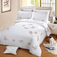 Duvet Cover Set With Zipper Closure Embroidery Flowers King Size 4 Piece 1 Duvet Cover 2