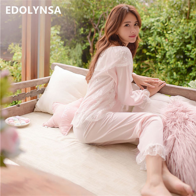 819b1a45e2f Lace Pajama Sets 2018 Long Sleeve Sleepwear Sexy Women Comfortable Home  Wear Vintage Indoor Clothing Pyjamas For Women  L133