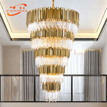 Large Modern Crystal Chandelier Lighting LED Stair Cristal Chandeliers Hanging Light Big Staircase Lamp