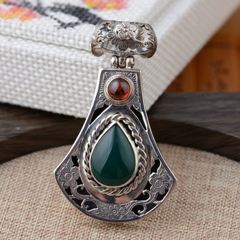 925 silver inlaid  Pendant antique style femalesilver pendant