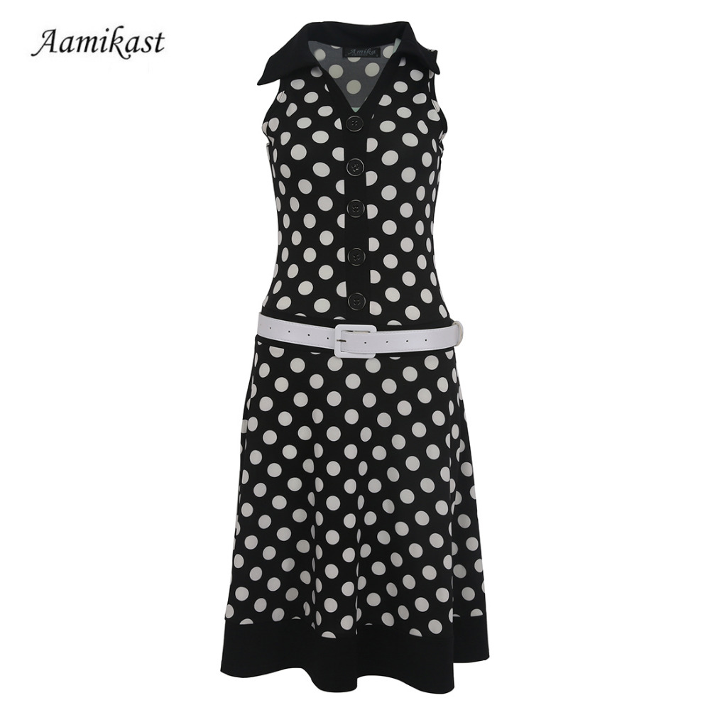 1356391fc6d4 Women Dresses New Fashion Print Dot Without Belt American Country Style  Casual Dresses High Street Sleeveless-in Dresses from Women's Clothing on  ...