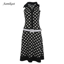 Women Dresses New Fashion Print Dot Without Belt American Country Style Casual Dresses High Street Sleeveless