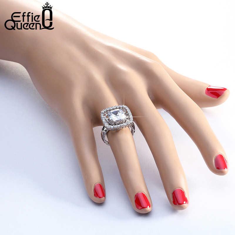 Effie queen большой квадратный кристалл свадебные кольца палец кольцо Роскошные женские кольца с AAA кубический циркон модные вечерние ювелирные изделия DOR102