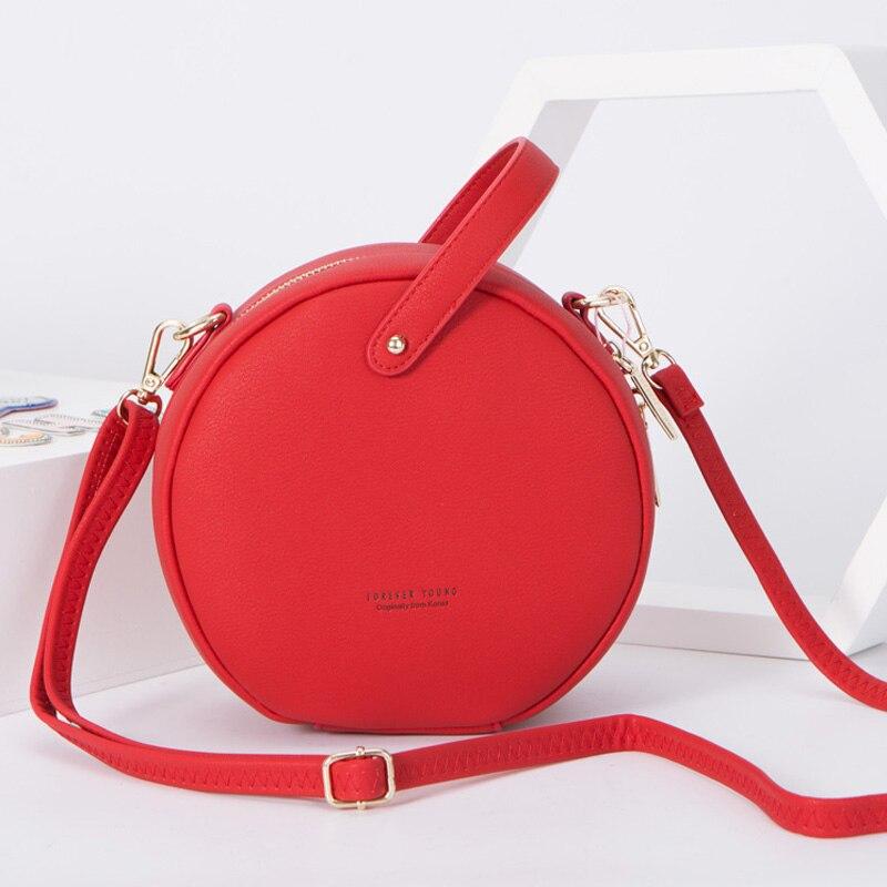 WEICHEN Rund Design Frauen Schulter Tasche Leder Kleine Umhängetasche Messenger Taschen Für Damen Runde Weibliche Handtasche Bolsa