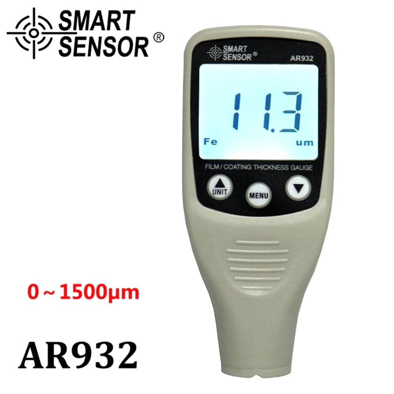 Digital Paint Coating Thickness Gauge Car detector Automotive Coating Refinishing car Paint tester Meter (0~1500um) AR932 0 1500um lcd film coating thickness gauge meter 2in1 fe nfe non magnetic surface paint coatings thickness measurement gm211