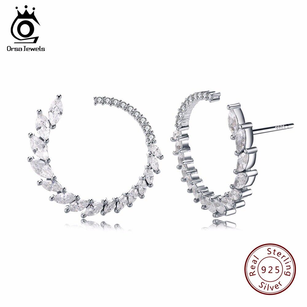 efbf08292 ORSA JEWELS Fashion Round Shape Stud Earrings Luxury Brand Solid Sterling  Silver 925 Earring Women Jewelry with Austrian CZ SE31