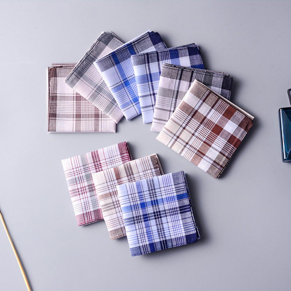 5Pcs Classic Vintage Plaid Stripe Handkerchief Hanky Men Pocket Squares 100% Cotton Business Casual Chest Towel Hankies