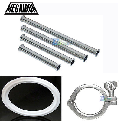 MEGAIRON OD 2 51MM Sanitary Spool Tube With 64MM Ferrule Flange+Pipe Gasket+Tri Clamp Pipe Fittings Length 4/6/8/12/18/24 1 set 8 219mm od sanitary pipe weld ferrule tri clamp silicone gasket stainless steel ss304 swt 219