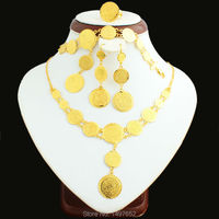Newest Dubai gold coins jewellery set Gold Color Turkish Egyptian Algeria Ethiopian Moroccan Saudi girls women jewelry