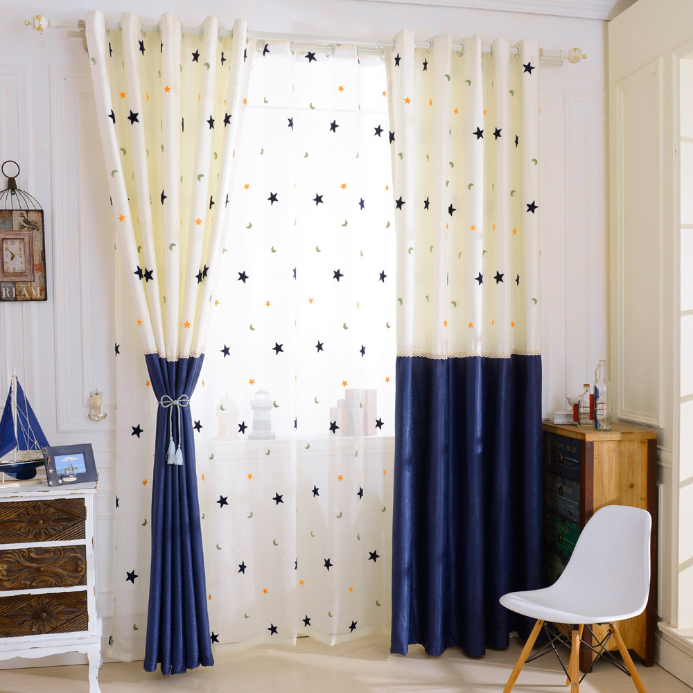 Kids Curtain Fabrics Us 16 2 19 Off Byetee Cotton Linen Kids Curtain Baby Room Blackout Curtain Fabric Star Moon Curtains For Children Bedroom Living Drapes In
