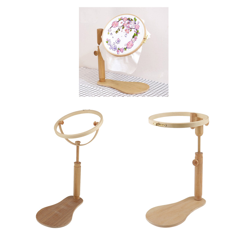 1 Pcs Embroidery Stand Hoop Wood Embroidery Cross Stitch Hoop Set Adjustable Embroidery Hoop Ring Frame Sewing Tools