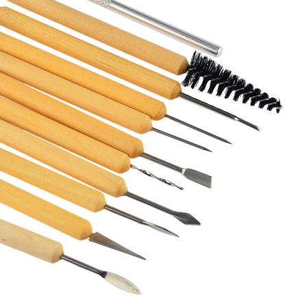 11pcs/set Pottery Tools DIY A Set Of Tools Of Modeling Clay Wood Wax Handle Clay Sculpture Carving Craft ACT007
