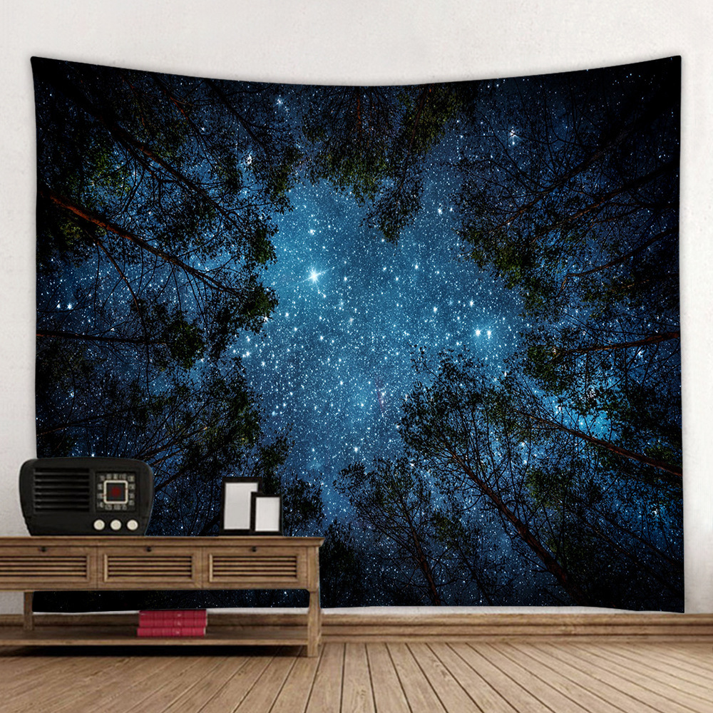 Starry Sky In The Forest Wall Tapestry Landscape Boho Hippie Psychedelic Tapiz Wall Fabric Home Dorm Headboard Decor Wall Carpet in Tapestry from Home Garden