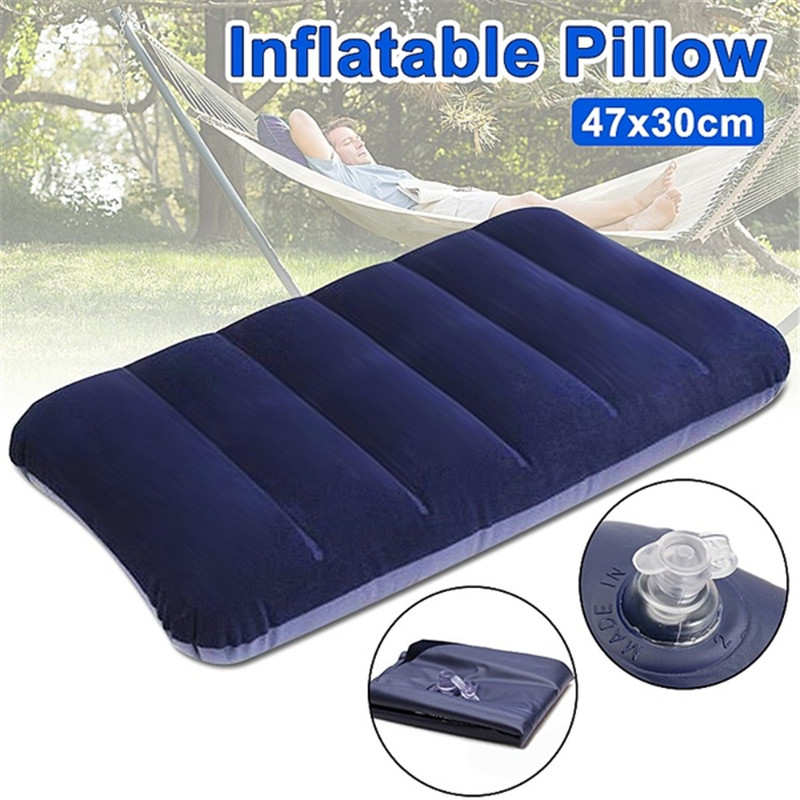 Foldable Pillow Outdoor Travel Sleep Pillow Air Inflatable Portable Break Rest Pillow Blue