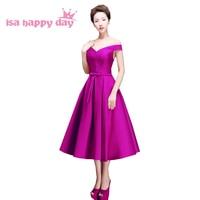 Damas de honra da ocasião especial sexy fora do ombro tea comprimento mangas dama de honra vestidos coreano vestido vestido de baile 2018 H2644
