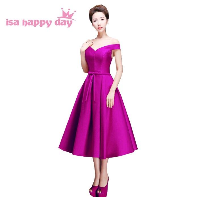 Occasion spéciale demoiselles d'honneur sexy hors de l'épaule longueur de thé sans manches robes de demoiselle d'honneur robe coréenne robe de bal 2019 H2644