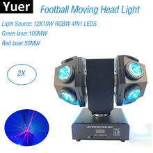 12X10W RGBW 4IN1 LED Beam Light Foot Light DMX512 Football Moving Head Light Professional DJ Bar Party Show Stage Light Laser