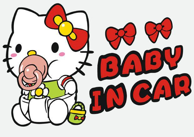 hello kitty funny car sticker baby on board warning sign 3d vinyl stickers and decals for cars. Black Bedroom Furniture Sets. Home Design Ideas