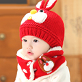 2 piece/ set  hat scarf gloves baby winter cap rabbit knit beanie bonnet  warm hats for children neck warmer photography props