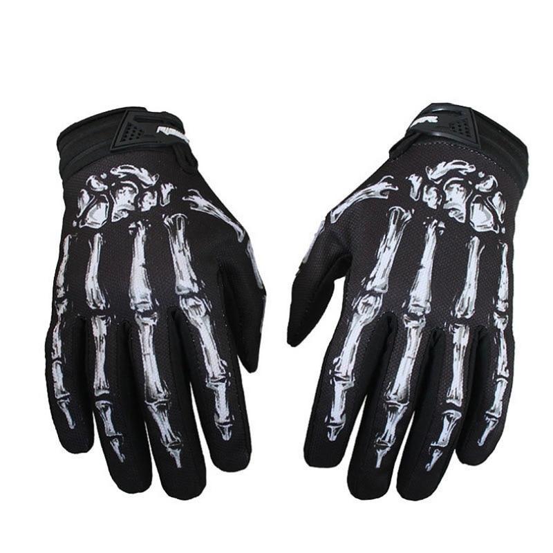 Men Outdoor Fitness Gloves Mittens Skeleton Skull Bone Full Finger Gloves Jeaz For Cycling Biker Racing Motorcycle