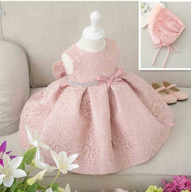 306927f3173 US $22.98 |Latest set of one year old baby girl baptism dress princess  wedding vestidos 2017 baby girl christening gown with hat 3 24month-in  Dresses ...