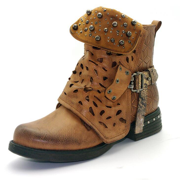 Aliexpress.com   Buy EFFGT Women Rhinestone Winter ankle Boots Zipper Rivet  Buckle Western Boots Round head low heel martin boots Women Shoes H842 from  ... 6a95bbc484de