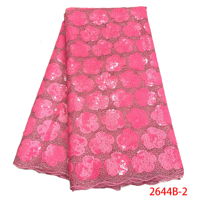 Latest Nigerian Lace Fabrics Sequins 2019 High Quality French Tulle Lace Pink African Lace Fabric For Wedding Dress XY2644B-2