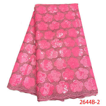 Latest Nigerian Lace Fabrics Sequins 2019 High Quality French Tulle Lace Pink African Lace Fabric For Wedding Dress XY2644B-2 - DISCOUNT ITEM  35% OFF All Category
