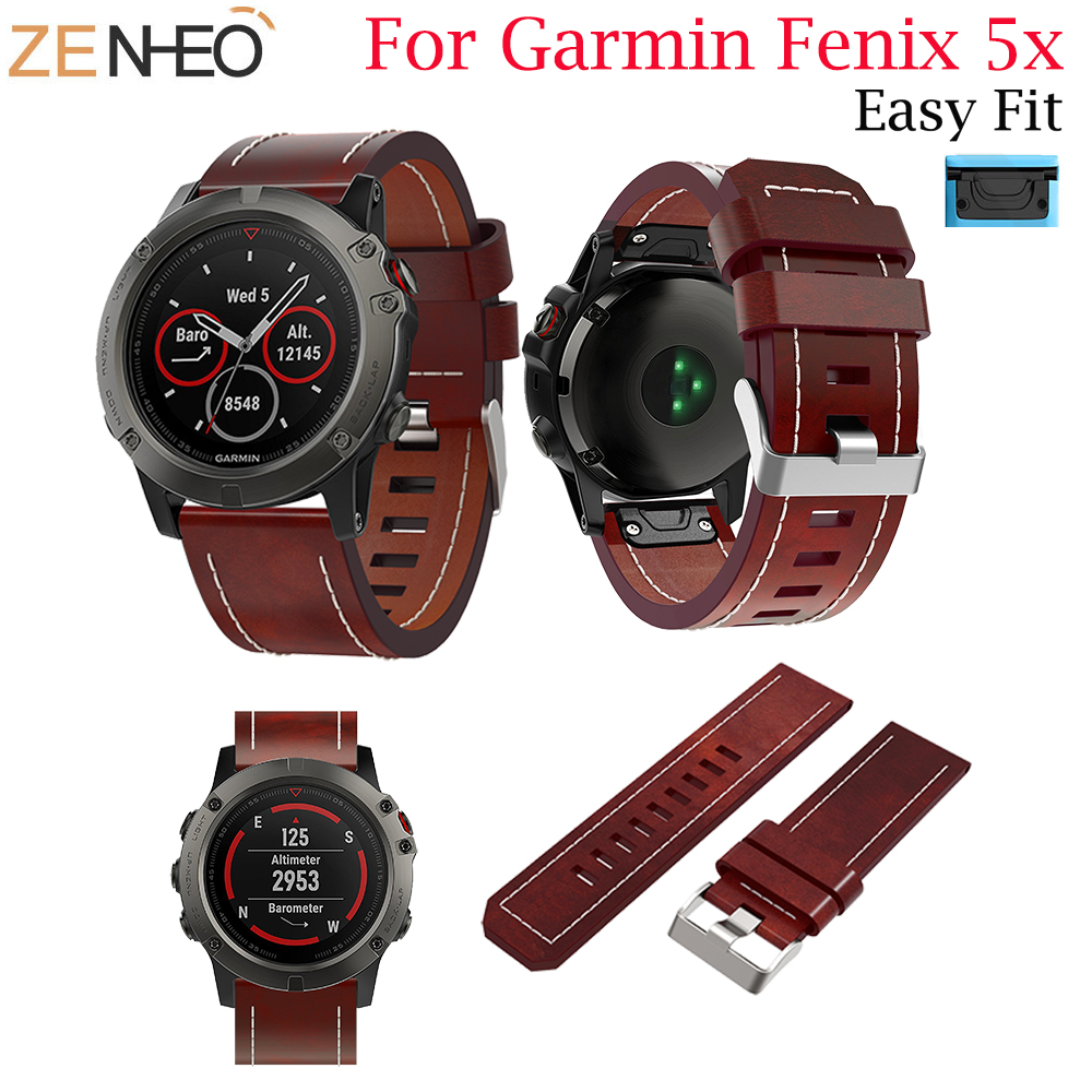 Leather Watchband For Garmin Fenix 5X/5X Plus 26mm Watch Band Strap Quick Release Replacement Band For Garmin Fenix 5X Bracelet