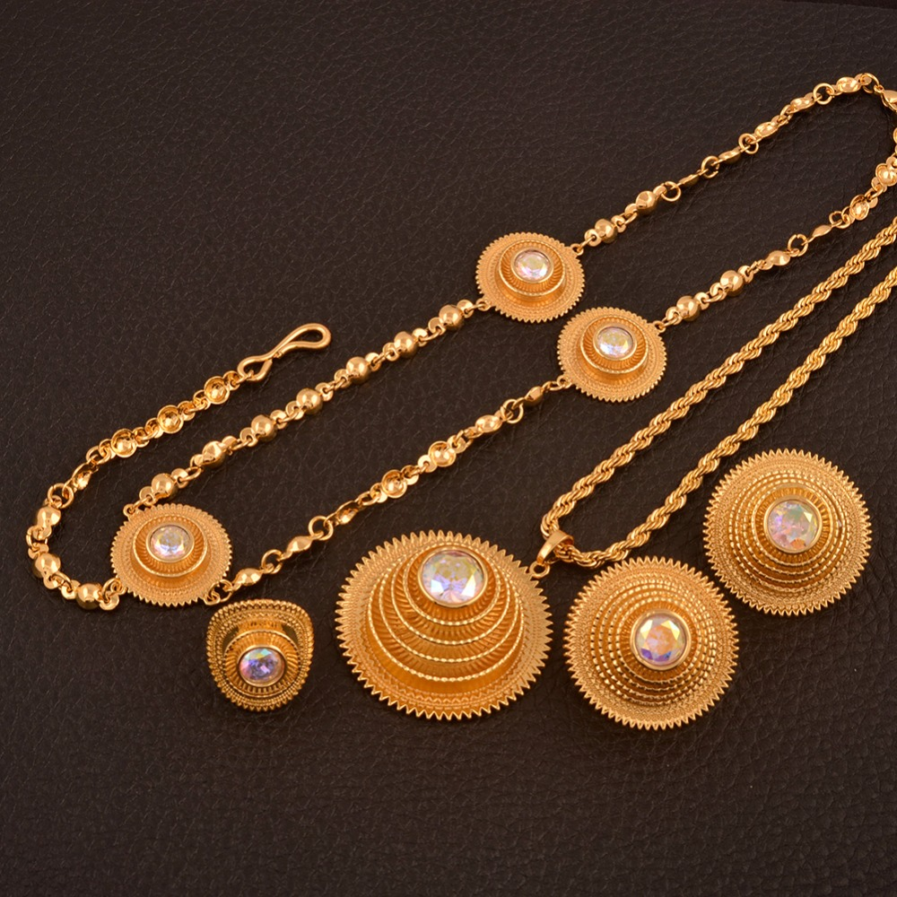Anniyo Good Quality Habesha Ethiopian Gold Color Necklace/Earrings/Ring/Hair Chain Jewelry sets African Wedding Gifts #047611Anniyo Good Quality Habesha Ethiopian Gold Color Necklace/Earrings/Ring/Hair Chain Jewelry sets African Wedding Gifts #047611