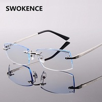 Men S Top Quality Rimless Titanium Alloy Optical Eyewear With Dioptre Diamond Cutting Businiss Optics Prescription