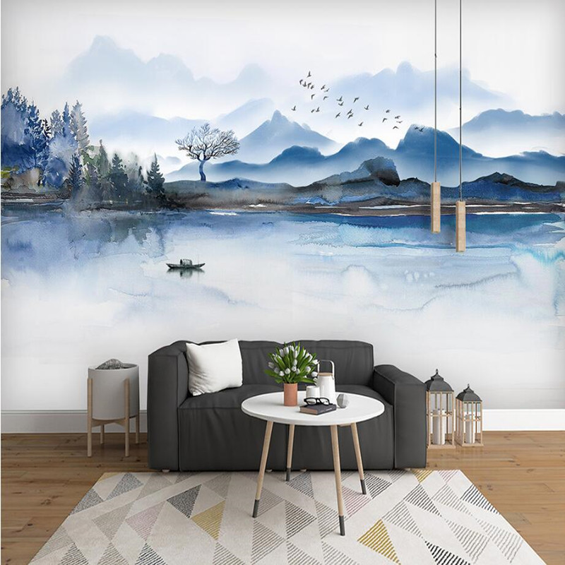 Custom Wallpaper Mural Modern 3d Chinese Ink Landscape Wall Painting Wall Living Room Bedroom Sofa TV Study Room Backdrop Decor pink romantic sakura reflection large mural wallpaper living room bedroom wallpaper painting tv backdrop 3d wallpaper