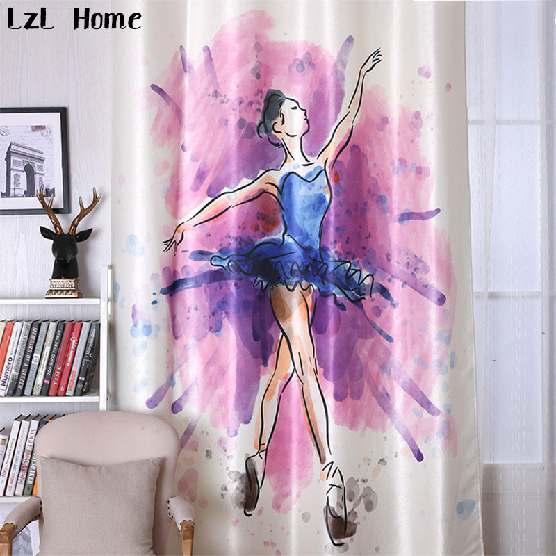 LzL Home simple ballet dance blackout curtains elegant modern beautiful girl pattern window ...