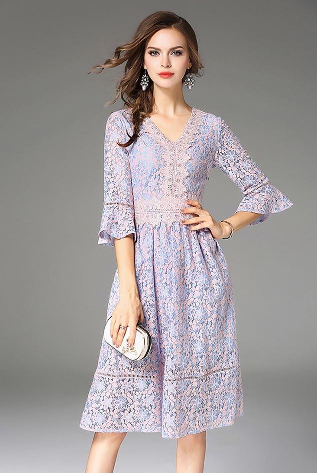 16bba24973 Zarachiel Elegant Lace Dress Autumn Women Pink Flower Embroidered Lace  Overlay Flare Sleeve Sexy V Neck Knee Length Party Dress-in Dresses from  Women s ...